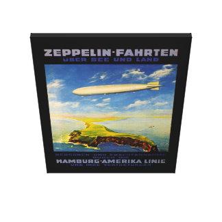 El zepelín dispara el ~ sobre el mar y la tierra - impresión en lienzo
