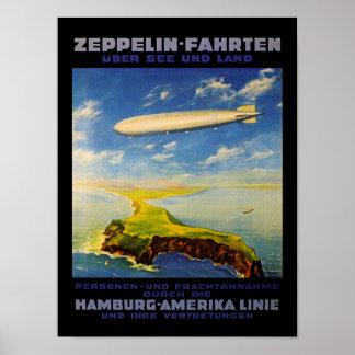 El zepelín dispara el ~ sobre el mar y la tierra impresiones