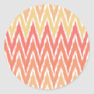 El zigzag anaranjado de Ombre Ikat Chevron raya el Pegatinas Redondas