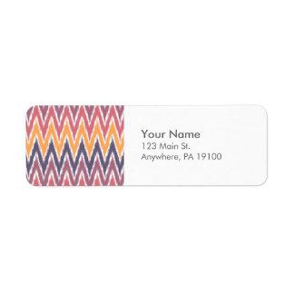 El zigzag anaranjado púrpura de Ikat Chevron raya Etiquetas De Remite