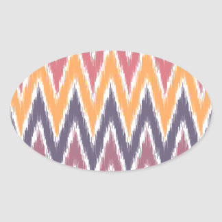 El zigzag anaranjado púrpura de Ikat Chevron raya Pegatina De Oval