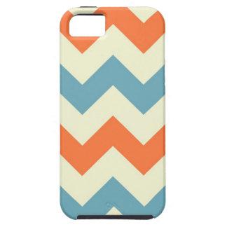 El zigzag azul anaranjado del galón raya el modelo iPhone 5 fundas