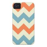 El zigzag azul anaranjado del galón raya el modelo Case-Mate iPhone 4 protectores