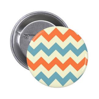 El zigzag azul anaranjado del galón raya el modelo pin redondo de 2 pulgadas