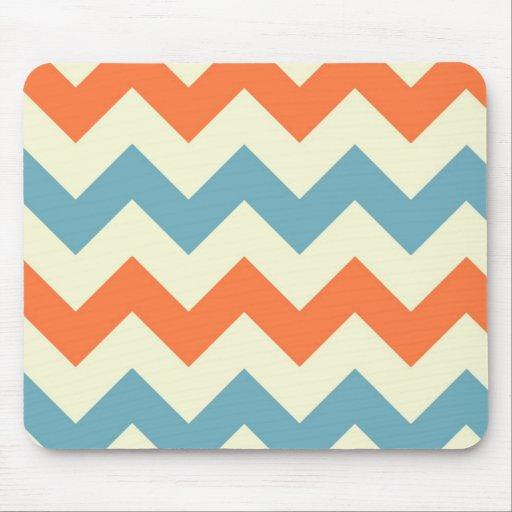 El zigzag azul anaranjado del galón raya el modelo tapetes de raton