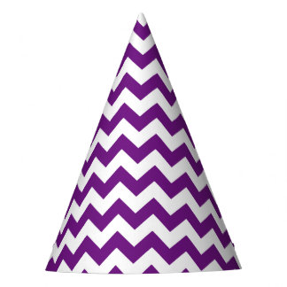 El zigzag blanco púrpura raya el modelo de Chevron Gorro De Fiesta