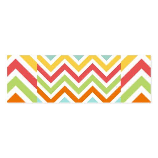 El zigzag colorido de Chevron raya el modelo Tarjetas De Visita Mini