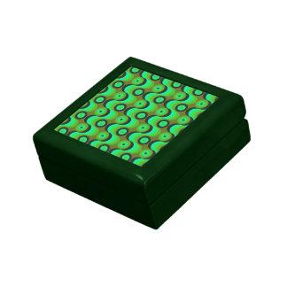 El zigzag curvado alinea los años 70 verdes de los caja de joyas
