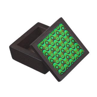 El zigzag curvado alinea los años 70 verdes de los cajas de recuerdo de calidad