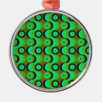 El zigzag curvado alinea los años 70 verdes de los adorno