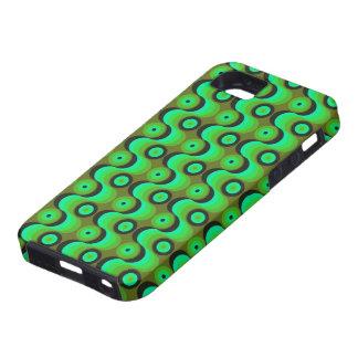El zigzag curvado alinea los años 70 verdes de los iPhone 5 Case-Mate protectores