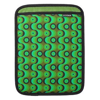 El zigzag curvado alinea los años 70 verdes de los funda para iPads