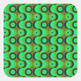 El zigzag curvado alinea los años 70 verdes de los pegatina cuadradas personalizada