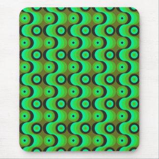 El zigzag curvado alinea los años 70 verdes de los alfombrilla de ratones