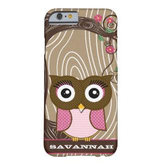 El zigzag de madera del árbol del grano del búho funda de iPhone 6 barely there