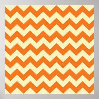 El zigzag poner crema anaranjado de Chevron de la  Posters