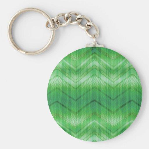 El zigzag verde de moda de Chevron raya el modelo Llavero Redondo Tipo Pin