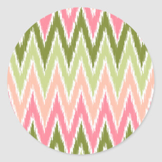 El zigzag verde rosado de Ikat Chevron raya el mod Pegatinas Redondas