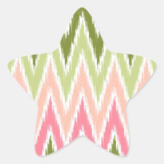 El zigzag verde rosado de Ikat Chevron raya el mod Pegatinas Forma De Estrella Personalizadas