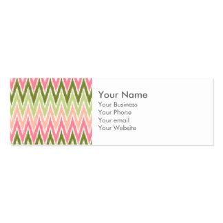 El zigzag verde rosado de Ikat Chevron raya el Tarjetas De Visita Mini