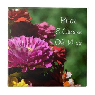 El Zinnia del jardín florece el boda Azulejo Cuadrado Pequeño