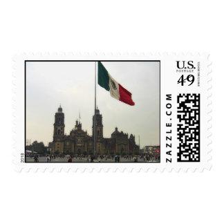 EL Zocalo del DF y la Bandera Mexicana del en de Sello