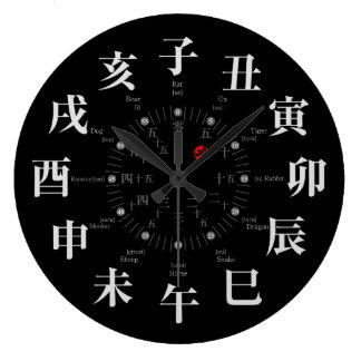 El zodiaco de Japón firma el estilo [la cara negra Relojes De Pared