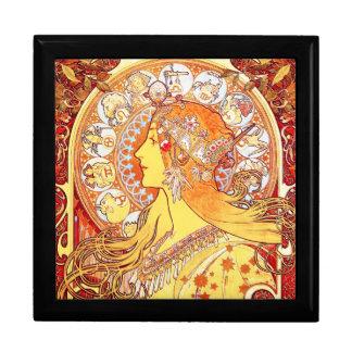 El zodiaco de Mucha - caja del recuerdo/de regalo Joyero Cuadrado Grande