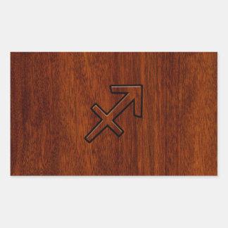 El zodiaco del sagitario firma adentro el estilo pegatina rectangular