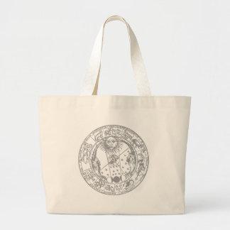 El zodiaco firma el vintage bolsa tela grande