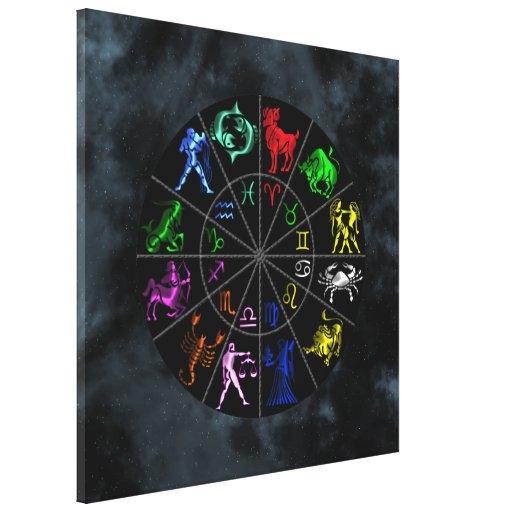 El zodiaco firma junto impresión en lienzo