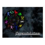 El zodiaco firma junto postal