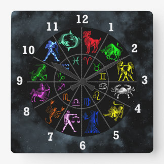 El zodiaco firma junto reloj cuadrado