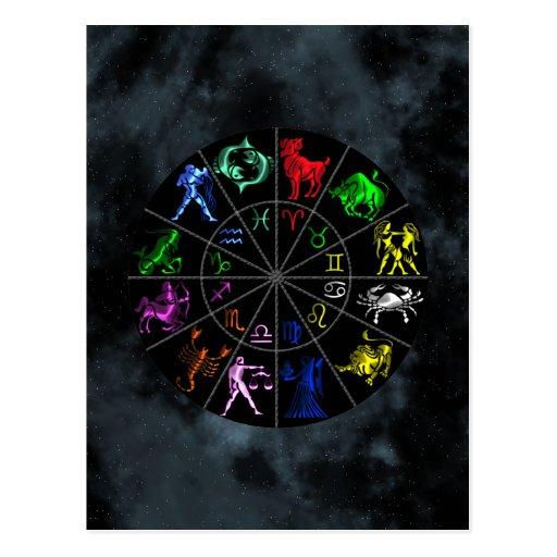 El zodiaco firma junto tarjeta postal