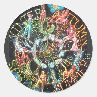 El zodiaco pegatina redonda