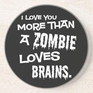 El zombi ama el práctico de costa de los cerebros posavaso para bebida