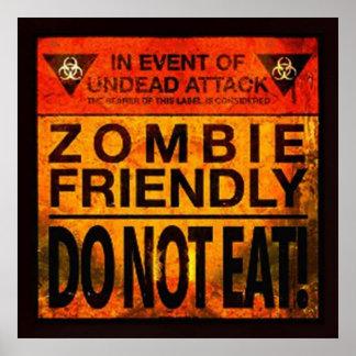 El zombi amistoso no come póster