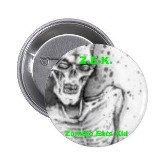 El zombi come al niño pin redondo de 2 pulgadas
