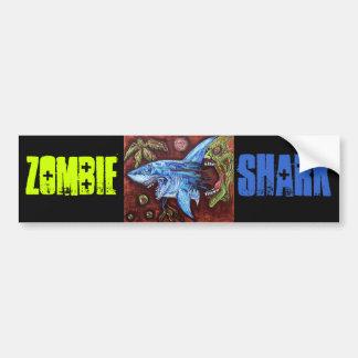 El zombi come el tiburón pegatina de parachoque