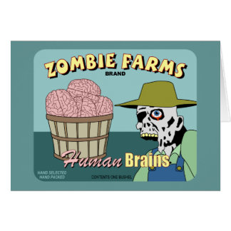 El zombi cultiva la etiqueta del cajón de la fruta tarjeta de felicitación