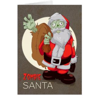 El zombi Santa trae los presentes para el navidad Tarjeta De Felicitación
