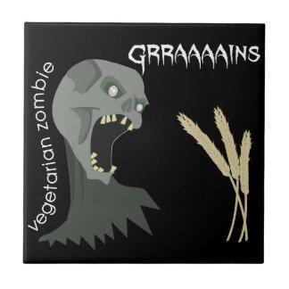 ¡El zombi vegetariano quiere Graaaains! Azulejo Cuadrado Pequeño