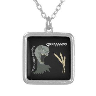 ¡El zombi vegetariano quiere Graaaains! Colgante Cuadrado