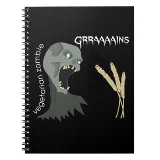 ¡El zombi vegetariano quiere Graaaains! Libro De Apuntes Con Espiral