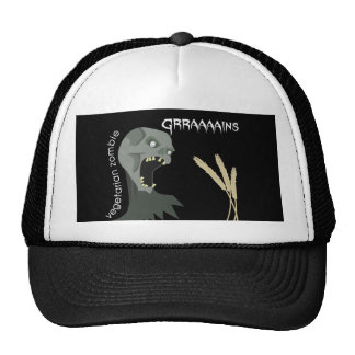 ¡El zombi vegetariano quiere Graaaains! Gorros Bordados