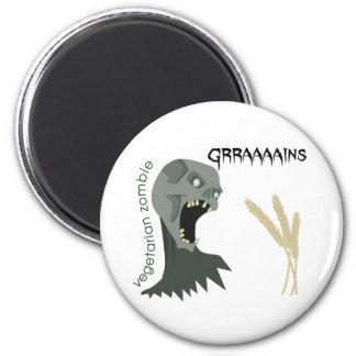 ¡El zombi vegetariano quiere Graaaains! Imán Redondo 5 Cm