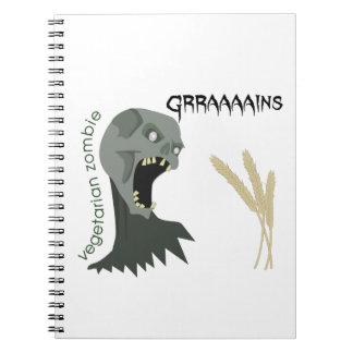 ¡El zombi vegetariano quiere Graaaains! Libretas Espirales