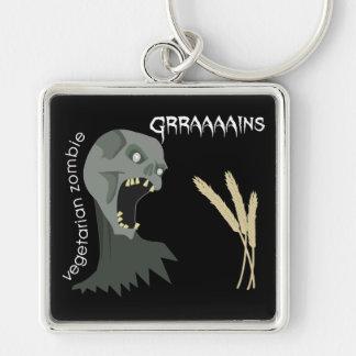 ¡El zombi vegetariano quiere Graaaains! Llavero Cuadrado Plateado