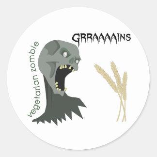 ¡El zombi vegetariano quiere Graaaains! Pegatina Redonda