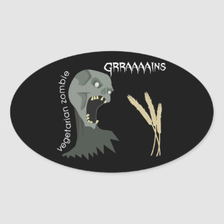 ¡El zombi vegetariano quiere Graaaains! Pegatina Ovalada